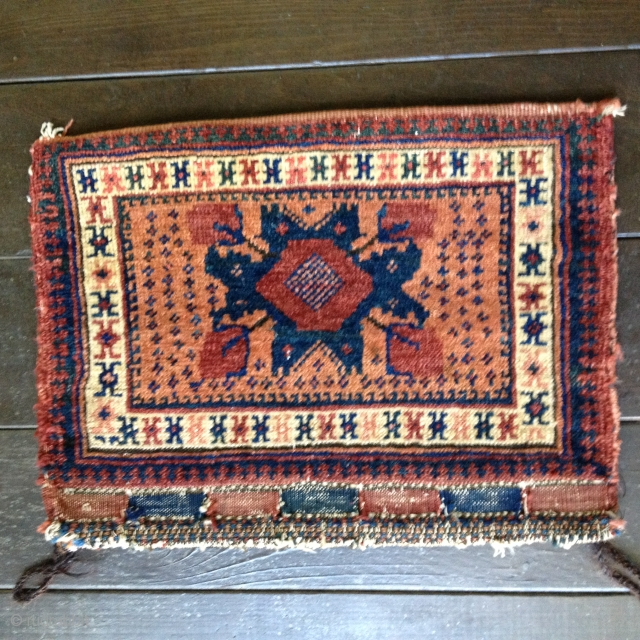 "Late 19th Century Afshar Chanteh bag with kilim backing and loop closures. Very good original condition with medium pile throughout. Bright colors derived from all natural dyes. Size 18"" X 14""/46X36cm closed;  ..."