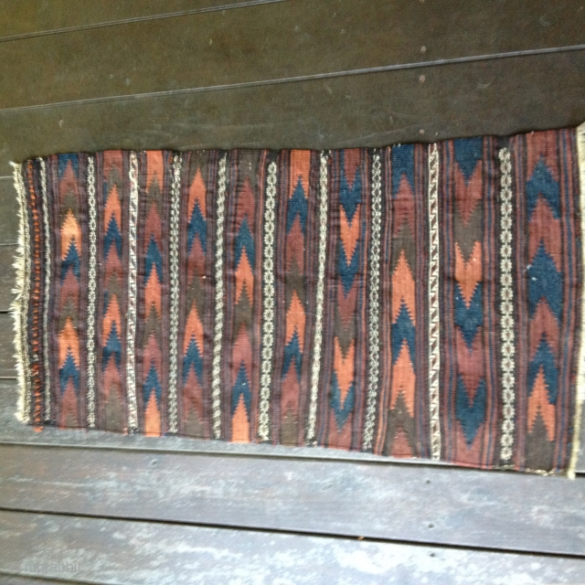 "Baluch Balisht kilim backing from the late 19th C. Retains closure loops. All natural attractive colors and in excellent condition. Size 3'6"" X 1'10""/107X56cm.
