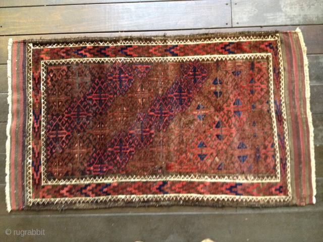 Small antique Baluch rug, p possibly Khorasan, ca 1890s. All natural dyes with