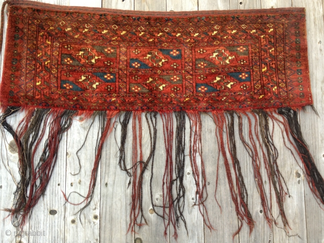 Beautiful Antique Ersari Torba, circa 1910-20, in full pile with origional backing, most tassles and closure cord. Good colors including a nice yellow and blue. Soft lustrous wool. Size: 50X19in./127X48cm. Washed. Buyer  ...