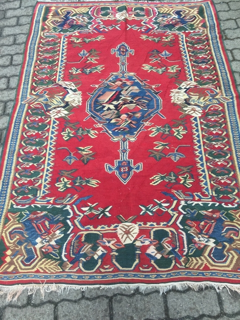 Fine antique Persian Bidjar kilim with roses pattern, size: 200x140cm / 6'6''ft x 4'6''ft