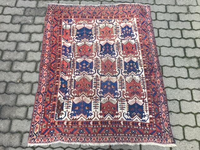 Antique ivory ground Southpersian Afshar rug, beautiful drawing, age: 19th century, size: ca. 133x109cm / 4'4''ft x 3'8''ft little worn spots in the middle, otherwise good overall condition, www.najib.de
