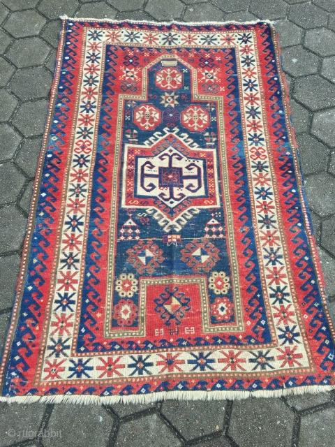 Antique Caucasian Fachralo prayer rug, age: 19th century. Size: 182x115cm / 6ft x 3'8''ft , some wear, still a very nice rug.