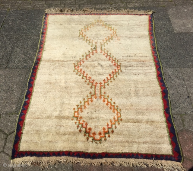 Antique minimalist Southpersian Gabbeh rug, size: 175x127cm / 5'8''ft x 4'2''ft