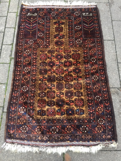 Rare Baluch prayer rug, signed and dated, size: 140x85cm / 4'6''ft x 2'8''ft, good condition except for a tiny old moth damage.