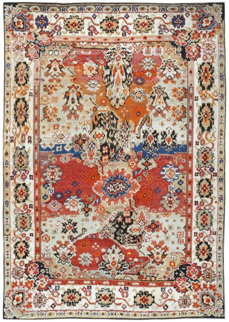 "Antique Caucasian Karabagh Rug 50046, Size: 4'6"" x 6'2"", Caucasus, Circa 1900 -- This antique Caucasian Karabagh rug is a striking piece rich in meaning and history. A sand-colored border rich with breathtaking  ..."