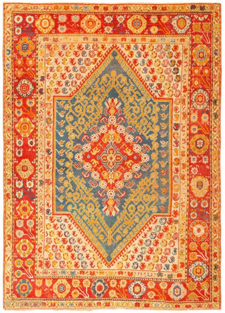 "Beautiful Antique Turkish Oushak Rug 50710, Size: 4'6"" x 6'2"", Country of Origin / Rug Type: Turkish Rugs, Circa Date: 1900 - This beautiful antique Turkish Oushak rug uses relatively straightforward and  ..."
