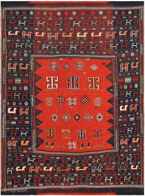 "Antique Caucasian Tribal Shasavan Rug 48239, Size: 5'2"" x 6'4"", Origin: The Caucasus, Circa: Final Quarter of the Nineteenth Century - Here is an exceptional antique Oriental rug - an antique tribal  ..."
