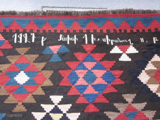 "Armenian Kilim, inscribed 1927 ""To my beloved"", about 6 by 10 ft, excellent condition. More shots available on request."