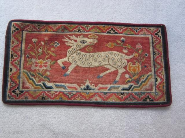 "Tibetan : Table mat with deer, 1'6"" by 2' 10"", c.1930"