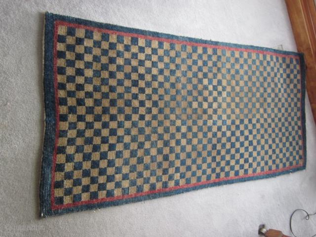 Tibetan: Attractive checkerboard khaden, c.1920, some re-piling