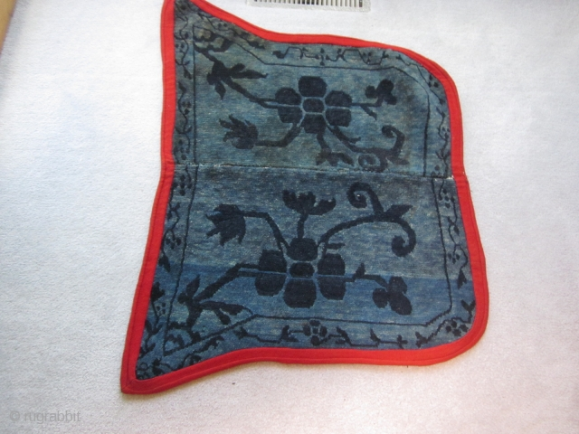 Tibetan butterfly saddle bottom. Exercise in blues with very figurative single.Spacing center strip removed to fit an animal of smaller girth.