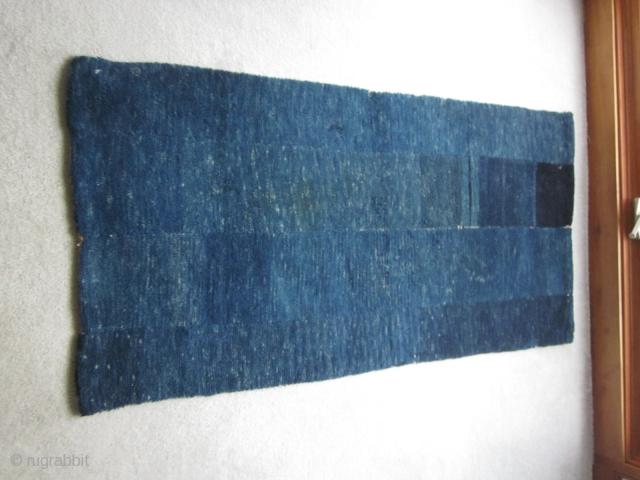 Tibetan tsuk truk, four panel bedding rug with attractive abrashed indigo. Minimalism for $550