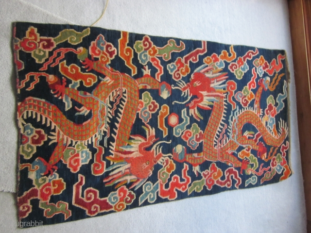 Tibetan: Two dragon khaden on blue ground, slightly reduced, c.1930, about 3 by 6 ft