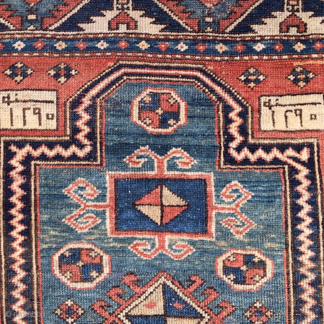 "Fachralo Kazak Rug Caucasian 3'10"" x 5'11"" dated 1873 collectible
