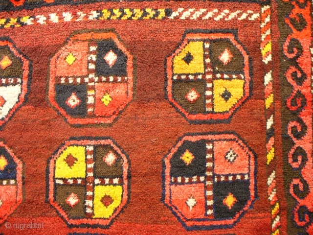 Wonderful Kirgis Rug full of improvisations, artistry, mistakes and no two things the same, sunshine yellow and walnut brown.