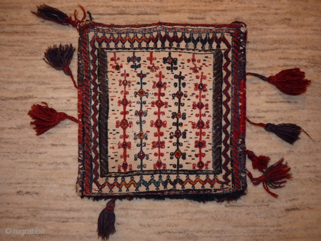 Bakhtiari chanteh, 37x36cms, cotton ground with overstitched motifs,