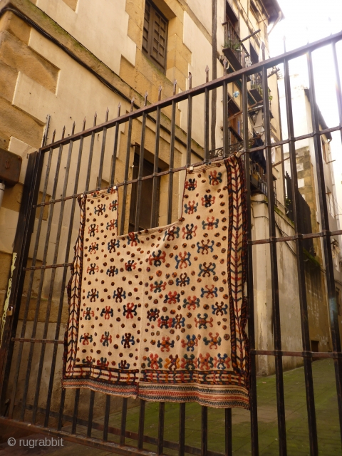 Persian Arabic horse blanket. Woven in two halves with plain kilim and some piled areas. Needs a good wash but otherwise in good condition, no holes or repairs, good colours. 160x150 cms
