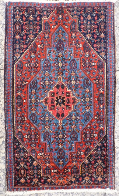 "An extremely fine little rug or pushti with Herati pattern. The blue is to ""dye"" for, all with natural colours and is in mint condition. 107x63 cms (A1812028).
