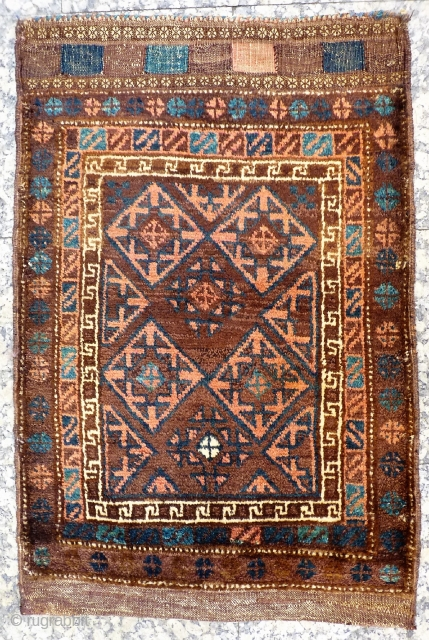 Belouch Balisht woven with soft and shinny wool, soft colour palette, including a very nice blue, and finished nicely with a kilim end. In good condition.