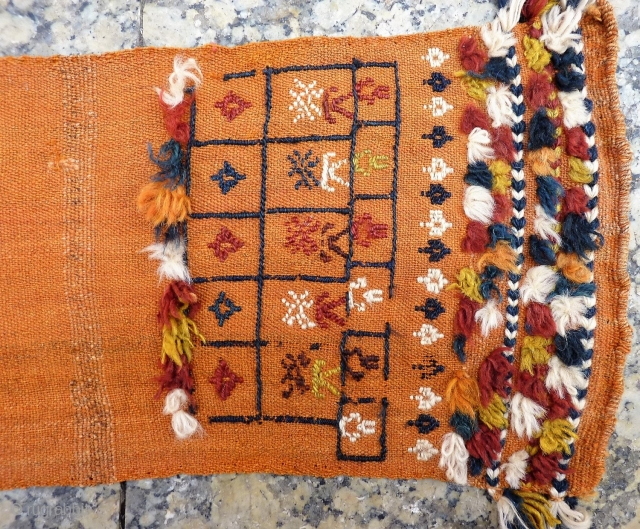 This type of long and narrow kilim was doubled lenghwise, stuffed with straw and tied round the neck of the mule. Sometimes in Iran we buy this type of kilim already stiched  ...