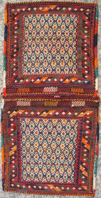 SW Iran mixed technique saddle-bag with nice colours (analine orange, 137x67cms