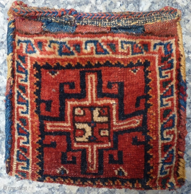 "Authentic tribal bag or ""chanteh"" for storing personal effects (money, comb, mirror, etc.) used by Luri nomads from south western Iran, from about 1940 or before, with nice patina of use, sturdy  ..."