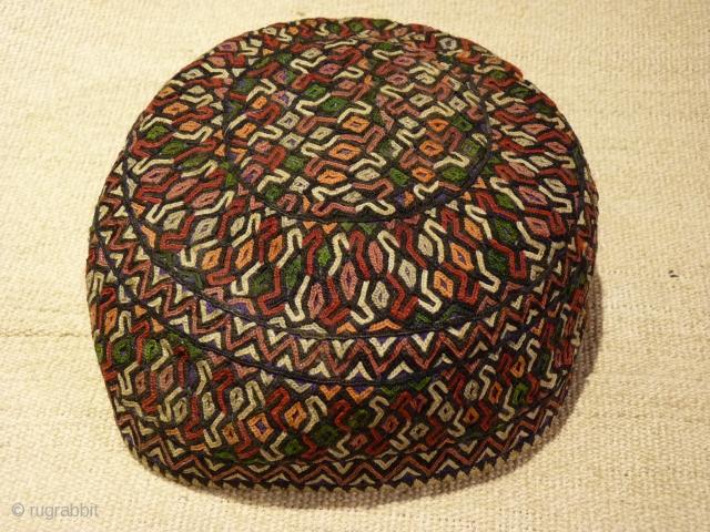 Turcoman embroidered skull-cap, 16cm diameter, very fine stitch and in perfect condition.