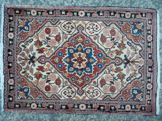 Malayer pushti, 92x64cms, from about 1930, soft colours, excellent original condition with even high pile throughout.