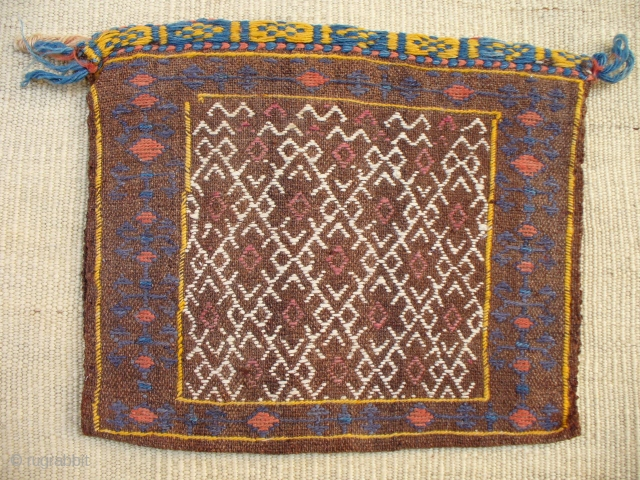 Qashqai chanteh with undyed brown wool for the background. 36x30 cms
