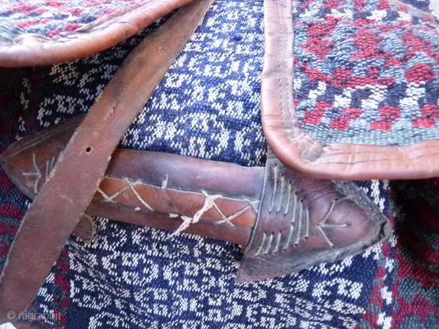 Another stunning pair of warp-faced technique maffrash or suitcases (see earlier post), Qashqai Kashkuli, from about 1930-1940 in excellent condition with nice leather details and imaculate weaving throughout, contemporary looking checkerboard base,  ...
