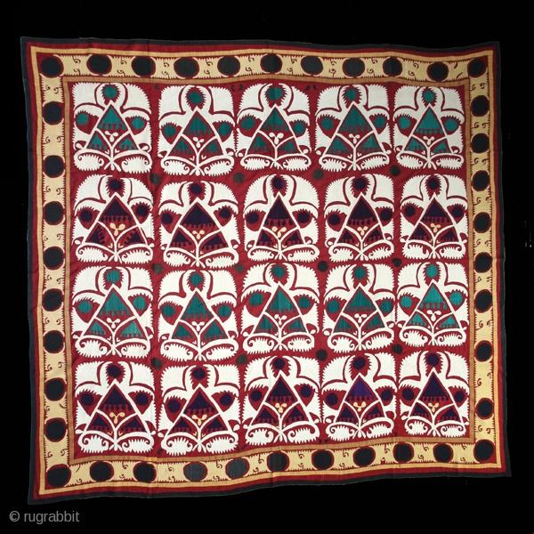 "Suzani cod. 0053, Cotton embroidery on cotton. 1st. half 20th. century. Very good condition. Dimension  cm. 260 x 280 (102"" x 110"")."