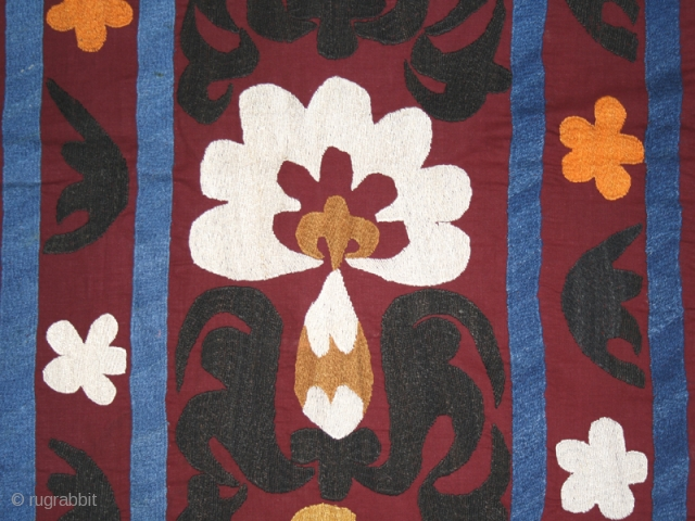 "Suzani cod. 0409. One of the special offer posted on my new website www.nonplusultra.cloud. Silk and cotton. Central Asia. First half 20th. century. Perfect condition. Cm. 110 x 215 (3'7"" x 7').  ..."