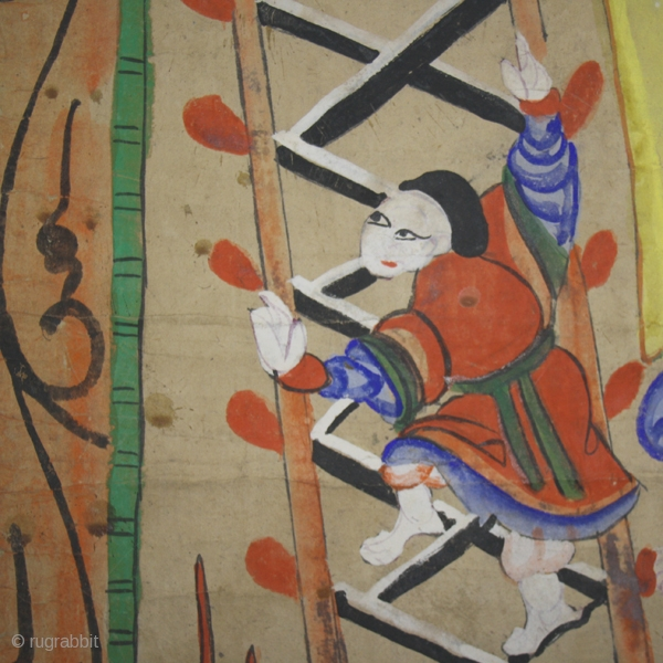 Shaman' s painting cod. 0439 one of the items posted on my website www.nonplusultra.cloud. Pigments on rice paper. Yao people. Guanxi or Hunnan area. China. Late 19th. century. Very good condition. Cm.  ...