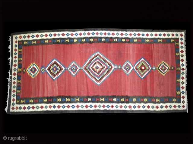 "Kilim cod. 0201. Wool natural dyes. Shahsavan people. Northwestern Persia. late 19th. century. Very good condition. Cm. 165 x 355 (5'5"" x 11'8"")."