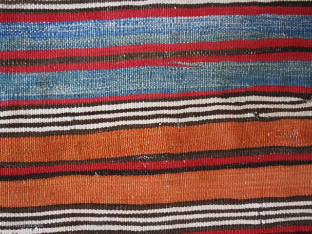 """Striped kilim fragment cod. 0675.  Wool, traditional dyes. West Anatolia. Early 19th. century. Dimension cm. 75 x 150 (30"""" x 59""""). Good condition. Professionally backed on a black linen."""