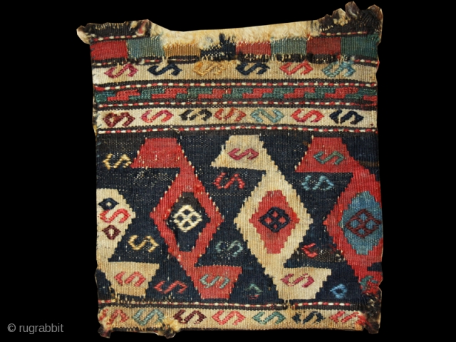 "Chanteh cod. 0687. Wool and cotton. Shasavan people. Nothwestern Persia. Late 19th. century. Cm. 24 x 28 (9.5"" x 11""). Very good condition (see images)."