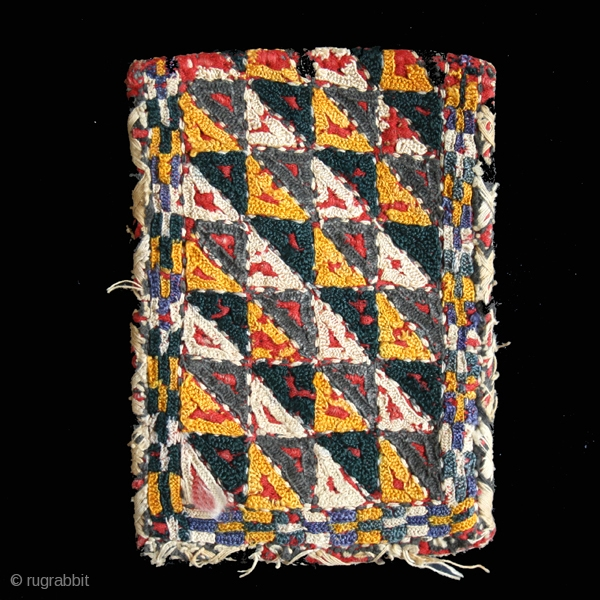 Purse cod.0027. Wool and cotton. Yomud people. Central Asia. Late 19th. century. Good condition. Cm. 9 x 13 (3.5 x 5 inches).