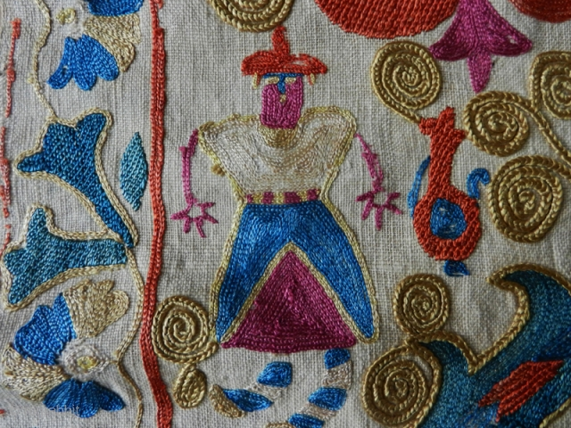 Suzani fragment cod. 0759. Silk embroidery on cotton. Central Asia. Early 19th. century or earlier. Size cm. 262 x 29 (103 x 11.5 inches). Very good condition.