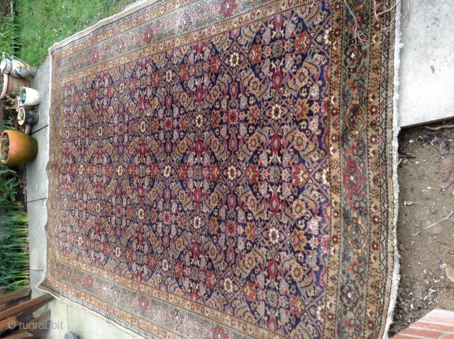 A late 19th century Persian Feraghan (Ferahan) antique rug, the dark blue field with an allover large-scale herati design. Good condition for its age.