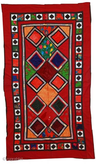 #1C46  Hand made vintage Uzbek Patchwork Suzani 4,2' x 7,4' ( 129cm x 227cm ) C.1960