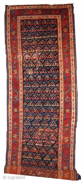 #1B442  Hand made antique Persian Kurdish runner 3.4' x 12.3' ( 103cm x 375cm ) C.1900