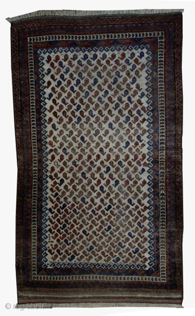 Handmade antique Afghan Baluch rug 3.8' x 5.6' ( 116cm x 170cm ) 1880s - 1B527