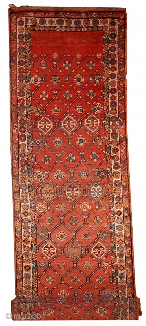 #1B444  Hand made antique Persian Kurdish runner 3.2' x 12.2' ( 97cm x 371cm ) C.1900