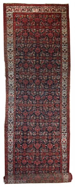 Handmade antique Persian Malayer runner 3.5' x 13.5' (108cm x 412cm) 1920s - 1C448