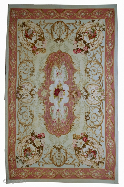 #1B526  Hand made antique French aubusson Napoleon the 3rd 4.6' x 6.6' ( 140cm x 201cm ) C.1860s