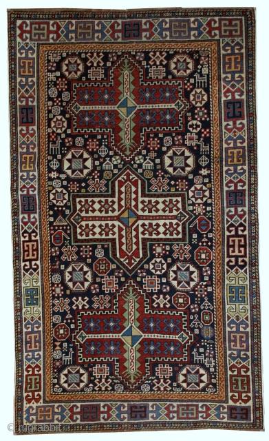 Handmade antique Caucasian Akstafa rug 3.6' x 5.6' (110cm x 170cm) 1890s - 1B560