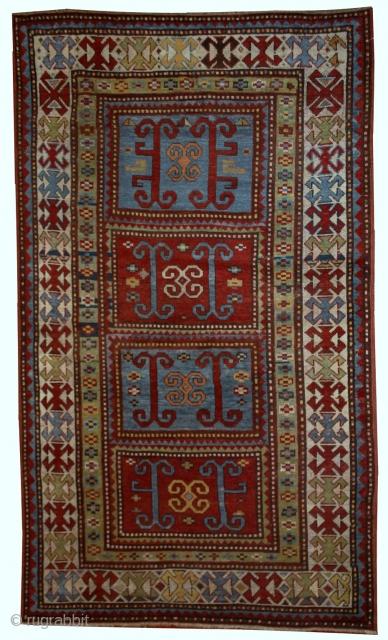 Handmade antique Caucasian Kazak rug 4' x 6.9' (122cm x 210cm) 1890s - 1B561