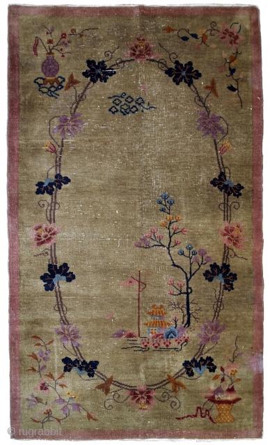 Handmade antique Art Deco Chinese rug 4.1' x 6.7' ( 125cm x 204cm ) 1920s - 1B611