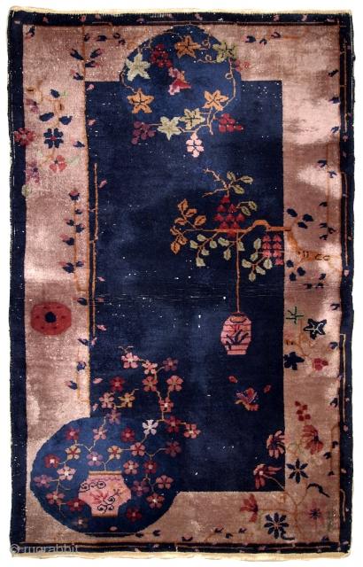 Handmade antique Art Deco Chinese rug 2.10' x 5.1' ( 89cm x 155cm) 1920s - 1B624